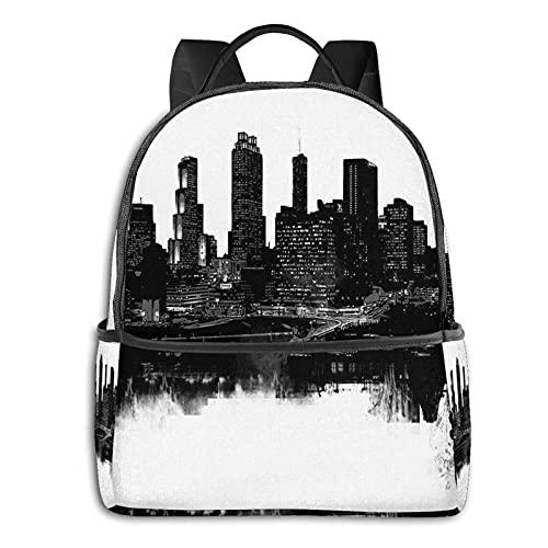 QQIAEJIA Mochila de poliéster de moda Atlanta Skyline All Seasons Unisex de gran capacidad Durable School Outdoor Daily Daypacks