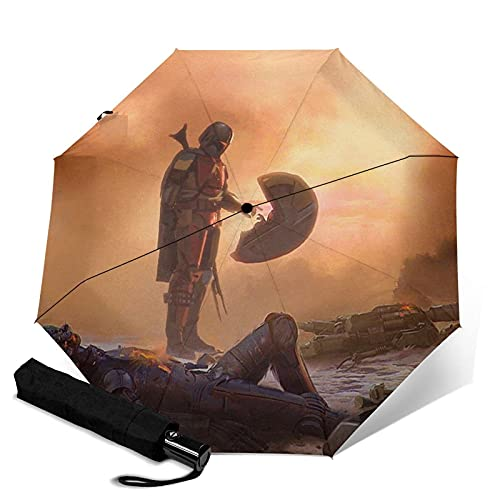 Paraguas plegables Star Mandalorian Wars Paraguas automático unisex de tres pliegues Impermeable Protección solar Resistente Paraguas duraderos a prueba de viento