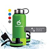 hydro2go ® Edelstahl Trinkflasche X-AlpsBottle - 1000ml / 1l | vakuumisolierte Thermosflasche + 3 Trinkverschlüsse | Auslaufsichere Isolierflasche | doppelwandige Outdoor Sportflasche | Thermoskanne