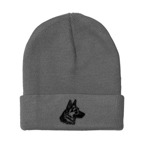 Custom Beanie for Men & Women Black German Shepherd Head Embroidery Acrylic Skull Cap Hat Light Grey Design Only