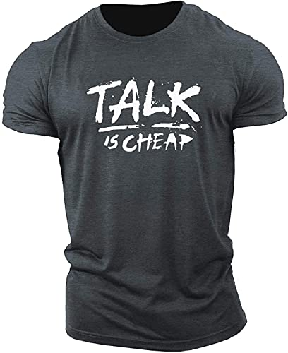 Camiseta Hombre Tendencia Letra Impresa Camiseta Juvenil Verano Manga Corta Moda Muscle Shirt Fitness Sport Running Camiseta Casual H-Grey 2 XL