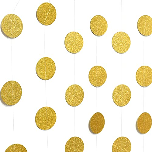 jijAcraft Girlande Goldene Kreis 16M Glitzer Papier Banner für Hochzeit Deco Baby Shower Geburtstagsparty