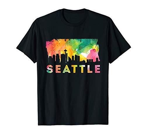 Seattle Skyline Watercolor - Washington USA Souvenir Gift T-Shirt