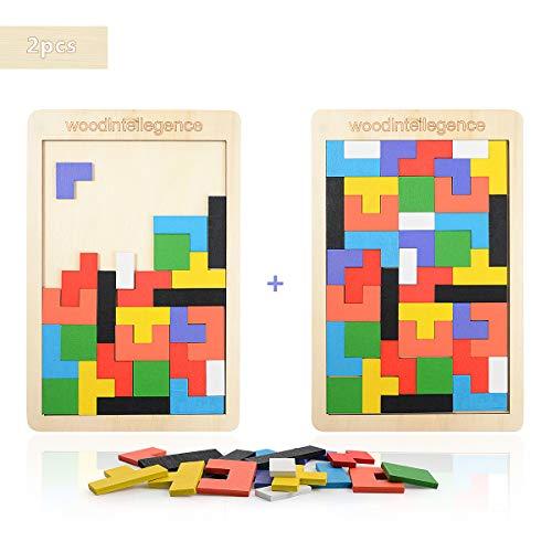 Herefun 2 Pack Tetris Holz Tangram, Tetris Holzpuzzle, Holz Tetris Puzzle, Tetris Puzzle Kinder, Pädagigisches Spiel Bunt Holzpuzzle Geometrisch Formen mit Box Knobelspiel