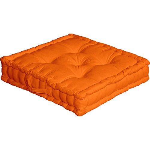Cuscino da pavimento con maniglia, 50 x 50 x 10 cm, 100% cotone, Arancione