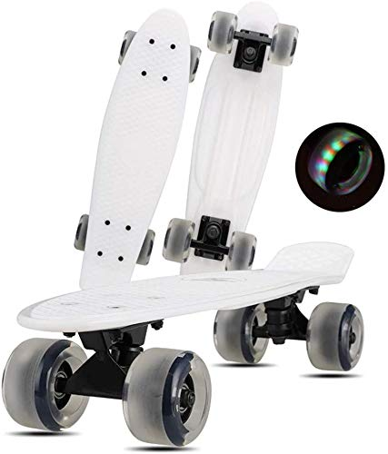 Mini Longboard Skateboard Cruiser, Anfänger Skateboard, PU Flash Wheel Skateboard Anfänger Kinder Adult Luminous Wheel Skateboard 22 Zoll rutschfestes Mattes Rad, weiß