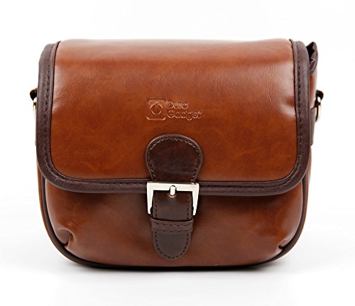 DURAGADGET Small Brown PU Leather Satchel Carry Bag - Compatible with HILLPOW SJ8000 4K WiFi Action Sports Videocamera