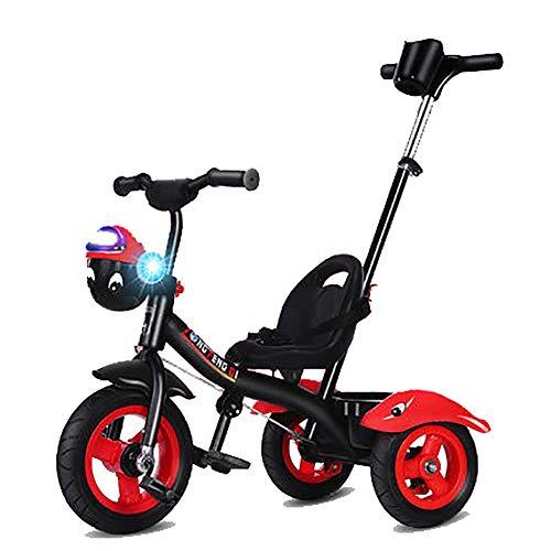 SHARESUN 2 In 1 Kids Kinder Trike driewieler Fiets Met Muziek Front Basket&Verwijderbare Ouders Duw Handvat Bar,Titanium lege wiel 3 Wiel Pedaal Fiets,voor 2-6 Jaar oud