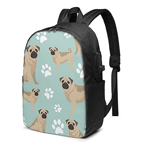 BYTKMFD Mochila de viaje con estampado de huellas de perro, mochila para ordenador portátil, para hombre y mujer, extra grande, antirrobo, con puerto de carga USB de 17 pulgadas, Negro, Talla única