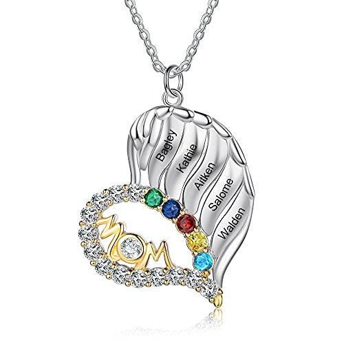 Personalizado Mum To Be Collar Amor Corazón Collares Colgantes Joyas Plata de ley 925 Joyas para el día de la madre Regalos de la hija para la mamá Abuela (5 nombres grabados con piedra )