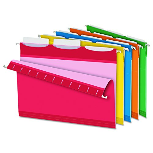 Pendaflex Ready-Tab Reinforced Hanging File Folders, Letter Size, 3 Tab, Assorted Colors, 25/BX (42621)