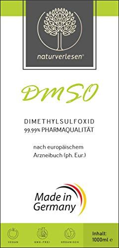 1000ml Dimethylsulfoxid DMSO 99,99% ph. Eur. (echte Pharmaqualität) in Apothekerflasche – (1l; auch erhältlich in 100ml, 250ml & 500ml; pharmazeutische Qualität)