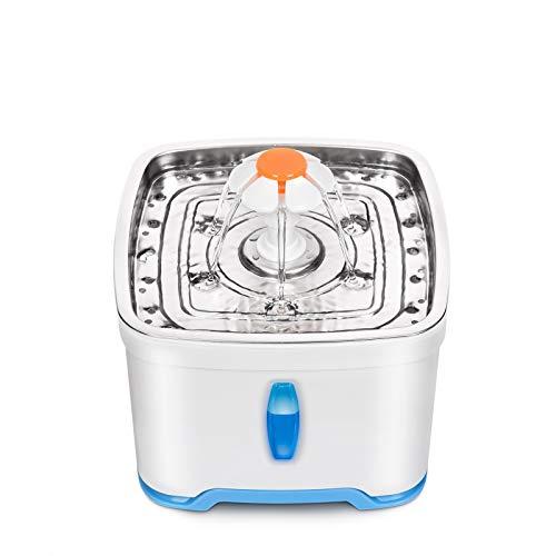 WOSHUAI Bebedero para Gatos De 2,5 litros con Ventana De Nivel De Agua, Bebedero para Gatos con Función De Circulación Automática, Bomba Silenciosa E Iluminación LED,European Plug