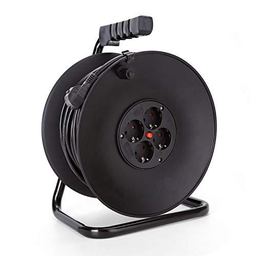 Aigostar 177454 - Cable de alimentación de bobina enrollable de 25 metros y 4...
