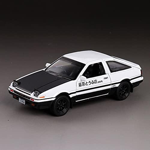 1/28 Black-White AE86 Alloy Japan Car Model Trueno Metal Diecast Pull Back Supercar for Boys (A-White-Black)