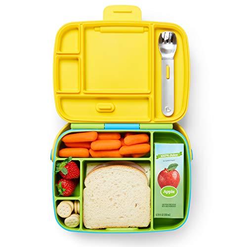 Munchkin 012530 Bento Box Fiambrera con Cubiertos para Niños, Verde/ Azul, Unisex
