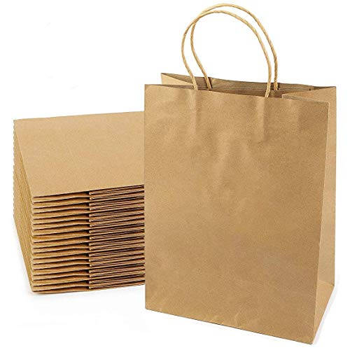 """Premium Brown Kraft Paper Bags with Handles 8""""x4.75""""x10.5"""" [30pcs] 100% Recyclable. Ideal for Party, DIY Craft, Packaging, Retail, Shopping, Business, Goody, Wedding, Welcome Gift Bags"""