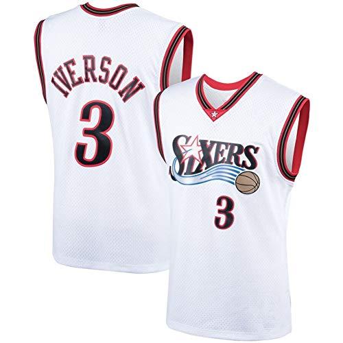 HANJIAJKL Herren Jersey Trikot #3 Allen Iverson Philadelphia 76ers Mitchell und Ness Men's Athletics Retro Basketball Trikot,Weiß,S