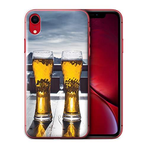 Handy Hülle kompatibel mit Apple iPhone XR Skifahren/Snowboard Skihütte/Bier Transparent Klar Ultra Dünne Handyhülle Case Cover