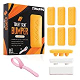 6pcs – Toilet Seat Bumper with Height Adjusters and Toilet Lifter Handle Families, Hotels, Hospitals, School – Top-Quality ABS with Waterproof Adhesive Universal – Light Orange Color