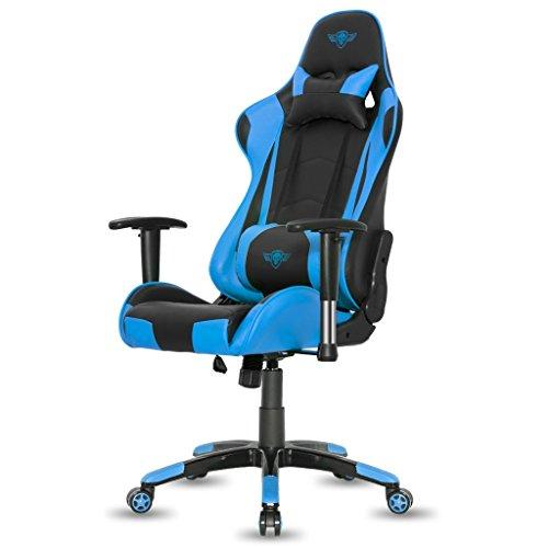Spirit Of Gamer - Gamer Demon Series - Gaming Silla de Escritoria Imitacion Cuero – Sillon de Juego - Silla de Juego 2D Integrada con Apoyabrazos (máxima 120 kg) (Azul)