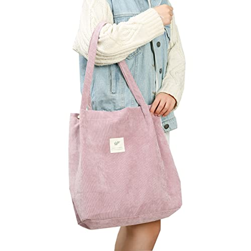 Cloele Corduroy Tote Bag for Women Girls Kids Shoulder Bag with Inner...