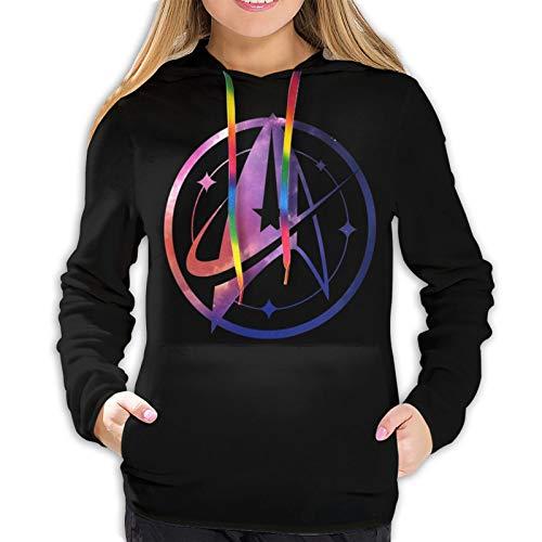 Mojikoma Ladies Print Hoodie Pullover Farbseil Casual Sports Frauen St-AR Tr-Ek