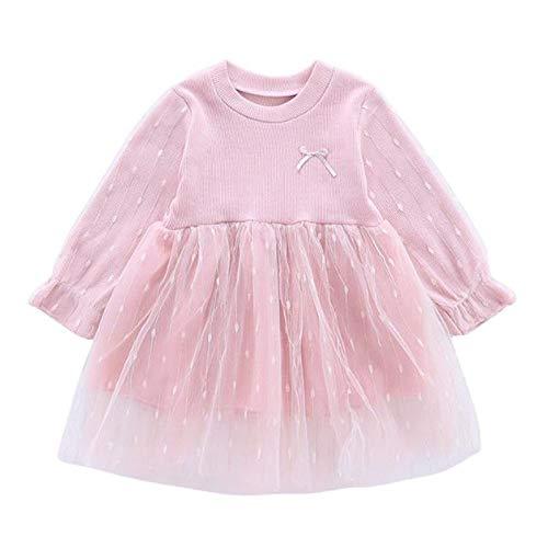Vestido Beb Nia Mangas Largas Lunares Encaje Tutu Princesa Vestidos para Nias Trajes de Ropa Bebe Recien Nacido Nia Disfraz (Rosa, 2-3 aos)