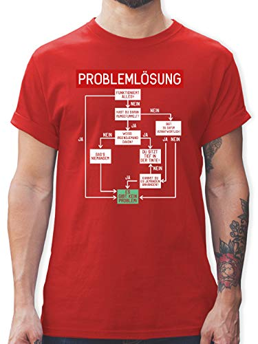 Sprüche - Problemlösung - M - Rot - Handball Tshirt Spruch - L190 - Tshirt Herren und Männer T-Shirts