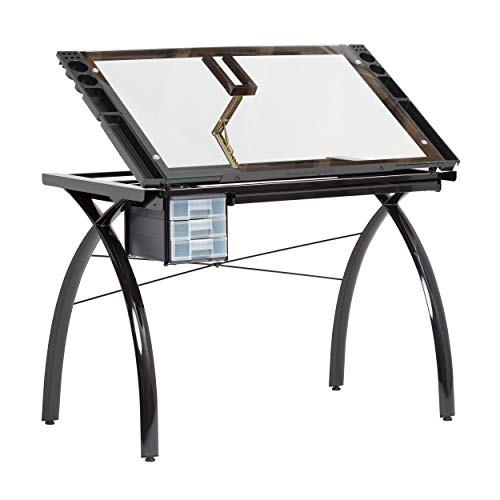 SD STUDIO DESIGNS Futura Modern Glass Top Adjustable Drafting Table Craft Table Drawing Desk Hobby Table Writing Desk Studio Desk with Drawers, 38''W x 24''D, Angle Adjustable Top in Black / Clear Glass