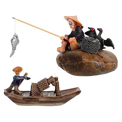 BESTonZON 2 Piezas Figura de Pescador en Miniatura Figura de Pescador de Cerámica Figura de Bonsái de Barco Chino Mesa de Arena de Jardín Zen Acuario Decoración de Peceras