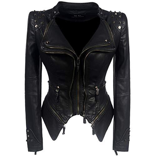 K-Flame Frauen Biker-Jacke Slim Fit Short Lederjacke mit Nieten Damen Multi-Zip Motorcycl Outwear Classic Black Punk Kostüm Mädchen Herbst Frühling,Schwarz,L
