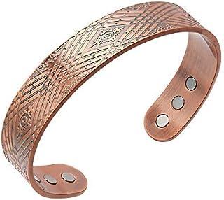 Bracciale magnetico da uomo in rame rosso, stile retrò europeo e americano, braccialetto di rame magnetico per gli uomini