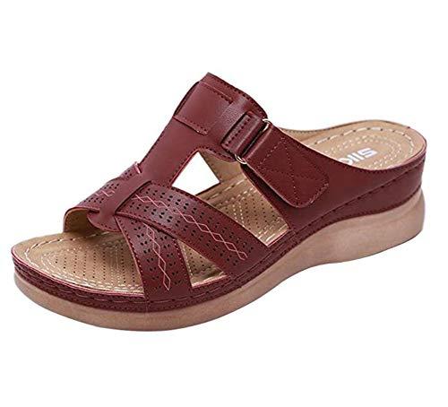 Wxyfl Sandalias Cómodas de Verano con Punta Abierta para Mujer Cuña Ortopédica Premium Suave con Fondo Grueso Sandalias Cómodas Sandalias para Caminar,Wine Red,36