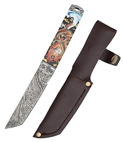 Carimee Fixed Blade Knife - Damascus Custom Outdoor Survival EDC Knife Premium 9Cr18MoV Steel Full Tang Blade with Sheath - Gold Dragon patterned