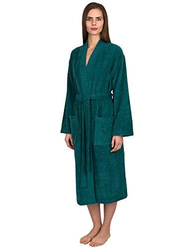 TowelSelections Women's Robe Turkish Cotton Terry Kimono Bathrobe Small/Medium Teal Green