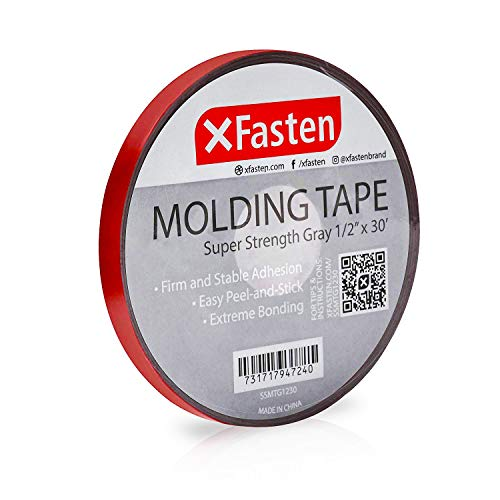 XFasten Super Strength Automotive Molding Tape, Gray, 1/2-Inch x 30-Foot, Double Sided Exterior Mounting Tape for Auto Body Molding, Trim, Side Mirror, Emblem, Nameplate and Outdoor Applications