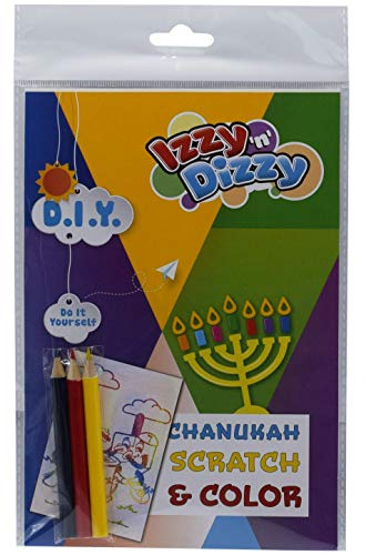 Hanukkah Scratch and Color Art Kit - Includes 8' x 6' Board and 3 Sharpened Colored Pencils - Chanukah Arts and Crafts - Gifts and Games - Izzy 'n' Dizzy