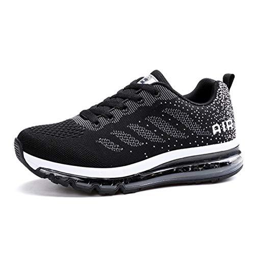 Zapatillas de Deporte Hombre Mujer Running Bambas Ligero Zapatos para Correr Respirable Calzado Deportivo Andar Crossfit Sneakers Gimnasio Moda Casuales Fitness Outdoor Blackwhite 46