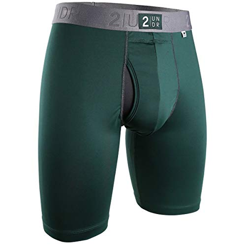 "2UNDR Mens Power Shift 9"" Boxer Long Leg Underwear (Dark Green, Large)"