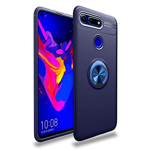 LAGUI Funda Adecuado para Huawei Honor View 20, Soporte de Montaje Magnético del Coche Carcasa Especial, con Anilla Posterior, Azul+Azul