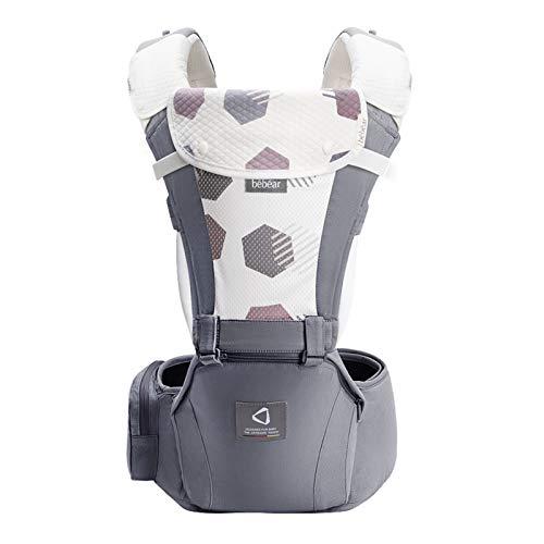 Bebamour Babytrage für 0-36 Monate, 3D Air Mesh Babytrage Rucksack für Neugeborene bis Kleinkinder, nach Sicherheitsstandard zugelassen, ergonomischer Baby-Hüftsitz 6 in 1 Fronttrage (New Cotton Grey)