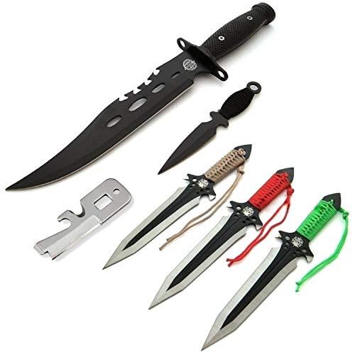*6er Set* 36cm Canada Forrest Ranger 3th. Mega Bowie- Jagd- Outdoor- Survival- Messer incl. Dolch Beimesser + 3er Wurfmesser Set - Kit Rae Design - Skull Head - Hellhawk Triple Throwing Dagger -