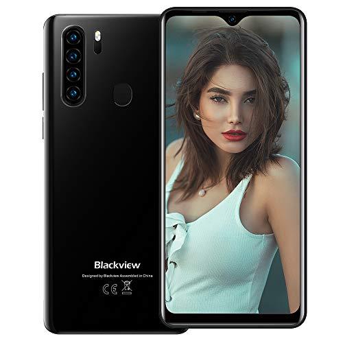 Blackview A80 Plus (2021) 4G Smartphone ohne Vertrag Günstig 6,49 Zoll Android 10 4GB RAM + 64GB ROM, 128GB erweiterbar 4680mAh Akku 13MP+8MP Dual Kamera Dual SIM Handy - Fingerabdrucksensor Schwarz