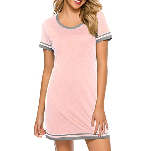 Cotton Nightgowns for Women Casual Night Shirts for Women Sleepwear Women's Short Sleeve Shirts Pink M