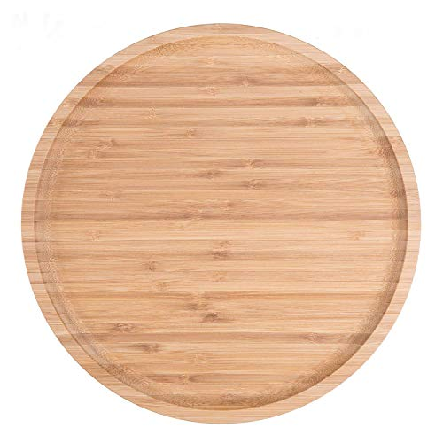 2-Pack Bamboo Round Plates ,12 Inches Cheese Plates Coffee Tea Serving Tray Fruit platters Party Dinner Plates Sour Candy Tray