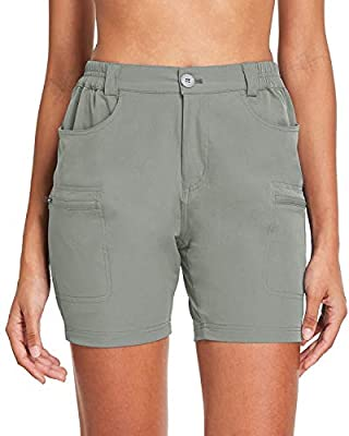 "Willit Women's 5"" Hiking Cargo Shorts Stretch Active Shorts Summer Shorts Water Resistant Pockets Gray M"
