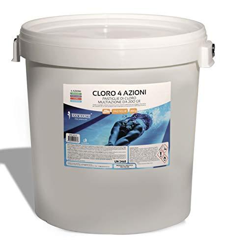 San Marco 25 kg. Cloro in pastiglie da 200 gr. multiazione 4 azioni con tricloro 90% antialghe e flocculante per Acqua Piscina