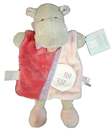 Doudou et Compagnie - Peluches et Doudous - Doudou marionnette Hippo Hippopotame - Collection : Petit Secret - Peluche bébé 25 cm - étiquette Flip Flap - Rose, parme, gris - Peluche Genre : bébé fille