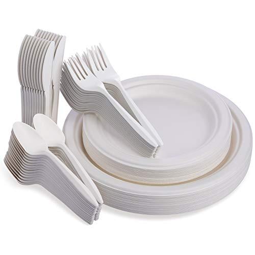 Fuyit Piatti Biodegradabili, Set di 125 Posate e Piatti Carta con 50 Piatti, 25 Forchette, 25 Coltelli e 25 Cucchiai per Feste, Campeggio e Picnic
